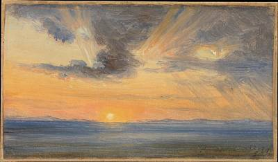 Fearnley Painting - Sunset Sorrento by Thomas Fearnley