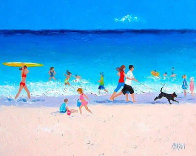 Children Playing On Beach Painting - Sunshine And Summertime by Jan Matson