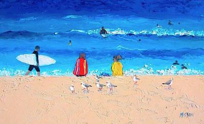 Surfer Girl Painting - Surfer Girls by Jan Matson