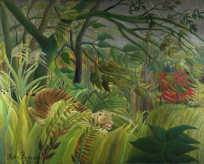 Tiger Painting - Surprised by Henri Rousseau