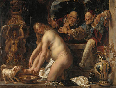 Painter And Dog Painting - Susanna And The Elders by Jacob Jordaens