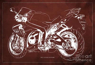 Suzuki Gsx-r1000 2012 Blueprint Gift For Men Art Print by Pablo Franchi