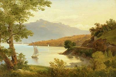 Geneva Painting - Swiss Lake Landscape by MotionAge Designs