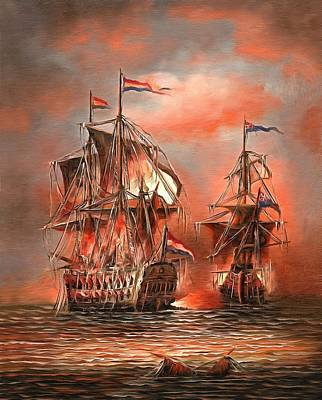 Photograph - 2 Tall Red Ships At Sea  by Studio Artist