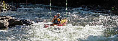 Photograph - Tandem Whitewater Canoe by Les Palenik