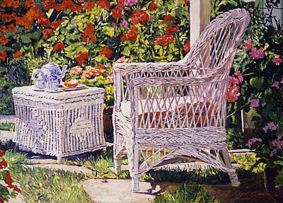 Garden Painting - Tea Time by David Lloyd Glover