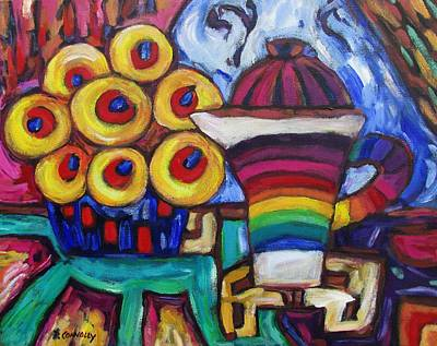 Painting - Teapot And Flowers by Dianne  Connolly