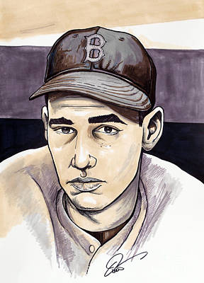 Baseball Art Drawing - Ted Williams by Dave Olsen