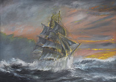 Pirate Ship Painting - Terra Nova by Vincent Alexander Booth