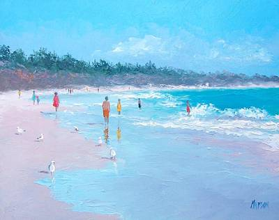 Byron Bay Painting - Testing The Water by Jan Matson