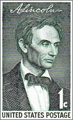 Retro Look Painting - The Abraham Lincoln Stamp by Lanjee Chee