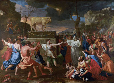 The Adoration Of The Golden Calf Art Print by Nicolas Poussin