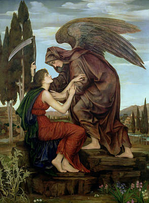 Super Girl Painting - The Angel Of Death by Evelyn De Morgan