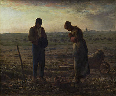 Praying Painting - The Angelus by Jean-Francois Millet
