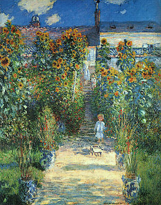 Le Jardin Wall Art - Painting - The Artist's Garden At Vetheuil by Claude Monet