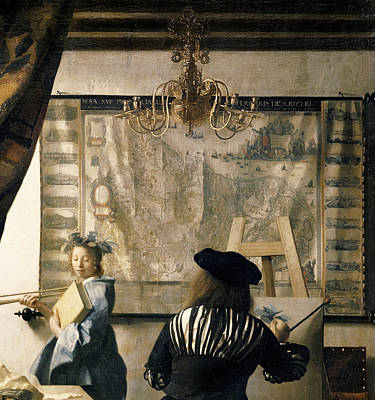 Trumpet Painting - The Artist's Studio by Jan Vermeer