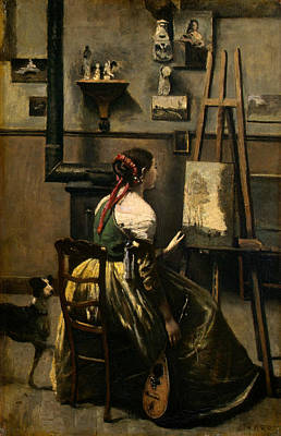 Painting - The Artist's Studio by Jean-Baptiste-Camille Corot