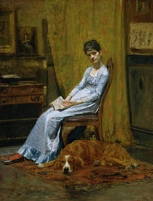 Puppy Painting - The Artist's Wife And His Setter Dog by Thomas Eakins