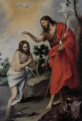 Jesus Art Painting - The Baptism Of Christ by Bartolome Esteban Murillo