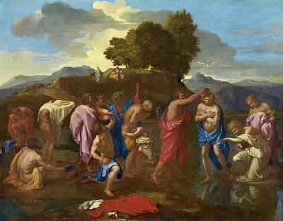 Jesus Christ Painting - The Baptism Of Christ by Nicolas Poussin