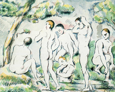 Homoerotic Drawing - The Bathers by Paul Cezanne