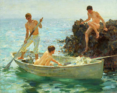 Painting - The Bathing Cove by H Tuke