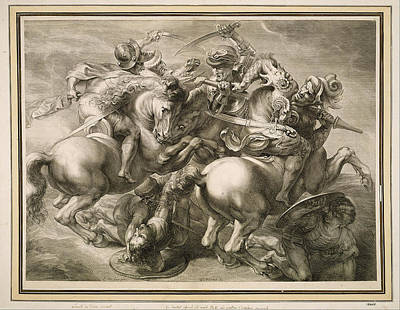 Four Horsemen Painting - The Battle Of Four Horsemen by Gerard Edelinck