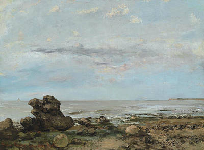 Courbet Painting - The Beach At Trouville by Gustave Courbet