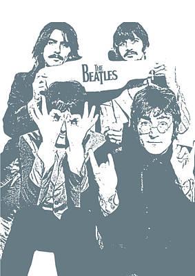 Illusttation Digital Art - The Beatles by Unknown