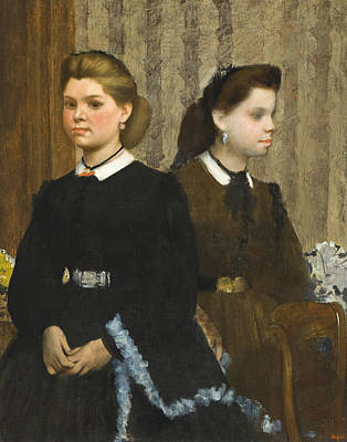 Two Girls Painting - The Bellelli Sisters by Edgar Degas