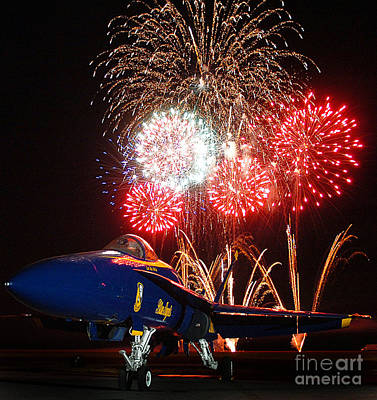 F-18 Painting - the Blue Angels US Navy    by Celestial Images