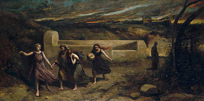 Realism Painting - The Burning Of Sodom by Camille Corot