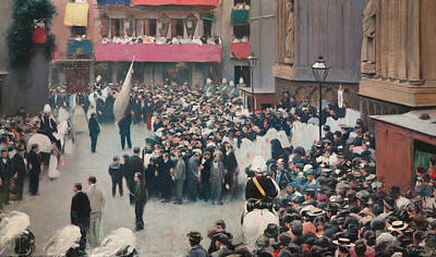 Spanish Art Painting - The Corpus Christi Procession Leaving The Church Of Santa Maria Del Mar by Ramon Casas