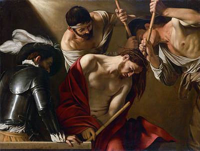 Jesus Art Painting - The Crowning With Thorns by Caravaggio