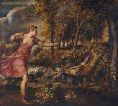 Classic Painting - The Death Of Actaeon by Titian