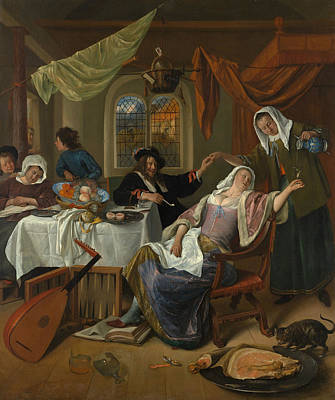 Musician Painting - The Dissolute Household by Jan Steen