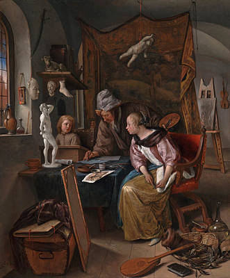 Guitar Painting - The Drawing Lesson by Jan Steen