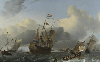 Painting - The Eendracht And A Fleet Of Dutch Men-of-war by Ludolf Bakhuizen