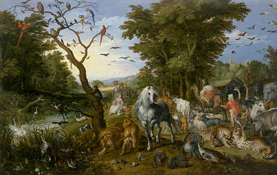 16th Century Painting - The Entry Of The Animals Into Noah's Ark by Jan Brueghel the Elder