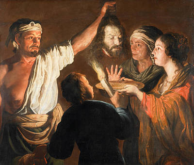 Beheading Painting - The Executioner With The Head Of John The Baptist by William Dobson