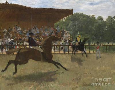 Horserace Painting - The False Start by Edgar Degas