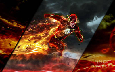 Comic Mixed Media - The Flash Collection by Marvin Blaine