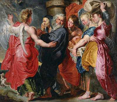 Biblical Painting - The Flight Of Lot And His Family From Sodom by Jacob Jordaens