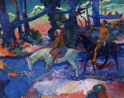 Horseback Painting - The Flight by Paul Gauguin