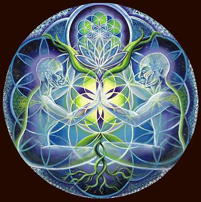 The Flowering Of Divine Unification Art Print by Morgan  Mandala Manley
