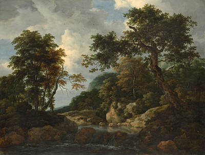 Rapids Painting - The Forest Stream by Jacob van Ruisdael