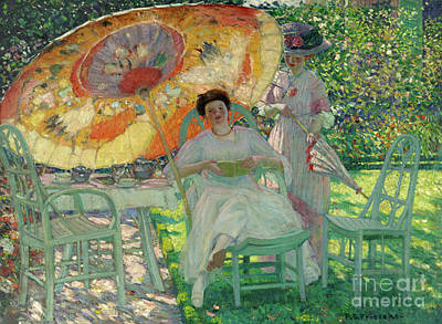 Lawn Chair Painting - The Garden Parasol by Frederick Carl Frieseke