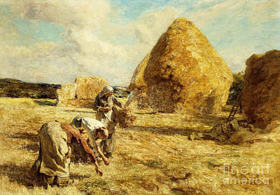 Augustin Painting - The Gleaners by Leon Augustin Lhermitte