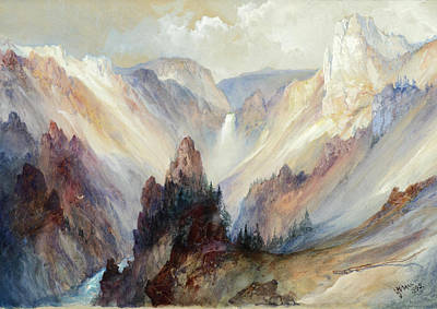 Grand Canyon Drawing - The Grand Canyon Of The Yellowstone by Thomas Moran
