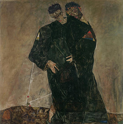Allegorical Painting - The Hermits by Egon Schiele